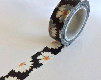 """SALE  Floral Washi Tape """"Daisy Delight""""'  15mm x 10 meters"""
