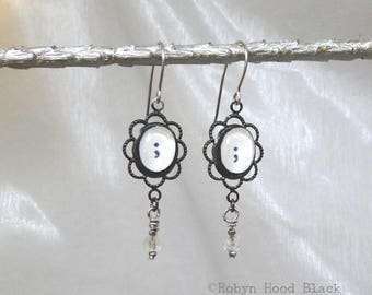 Punctuation Mark  Typewriter Semicolon Earrings with Antique Beads