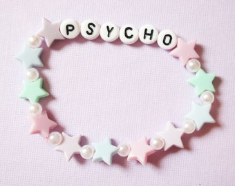Psycho Pastel Stars Fairy Kei Kandi Word Bracelet