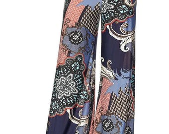 FLORAL PRINTED PALAZZO, Floral Printed High Waist Palazzo Pants with unfinished hem, Wide Leg Palazzo,