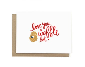 Love You a Waffle Lot Valentines CardSimple Minimal Icon Modern Lettering Graphic Cute Pun