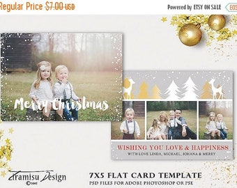 ON SALE Christmas Card Template, 7x5 in Holiday Card Adobe Photoshop psd Template, sku xm15-16
