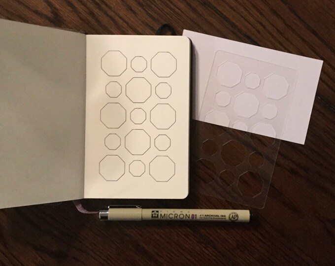 """Octagon Background Stencil (3"""" x 5"""") ~ for All Journals, Postcards, Tiles, Greeting Cards, Drawing"""