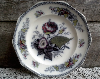 19th Century Earthenware Mulberry Purple Plate, Cabinet Plate, Wall Decor