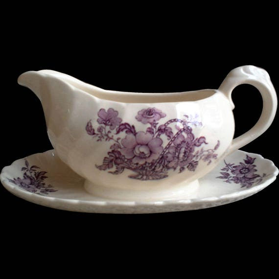 Antique Purple Royal Staffordshire English Gravy Boat with Liner ~ Charlotte ~ Clarice Cliff