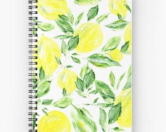 Lemon Notebook, leaf notebook, yellow notebook, lemons notebook, lemon painting, lemon journal, botanical notebook