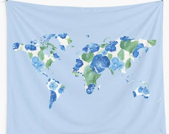 floral map wall tapestry blue wall tapestry blue map tapestry floral wall tapestry