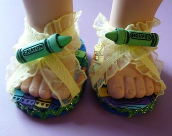 Zapatos para muñecas de 18 pulgadas, lápices de colores, huesos de perro, Turquía, gato impresión