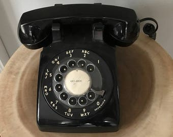 Vintage Mid Century Modern Black Rotary Telephone by AT & T