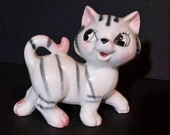 cat lover gift, vintage cat, 1970s ceramic cat, white black striped cat figurine, handmade cat statue, cat lover, cat statue collectible