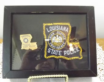 Vintage Framed Louisiana State Police GODE Obsolete Badge and Patch for the Man Cave, Union Justice Confidence