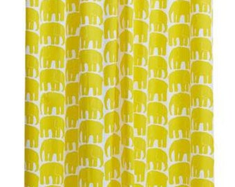 Curtain panel white yellow elephants Animal Modern Decor Cafe curtain Kitchen valance , runner , napkins available, great GIFT