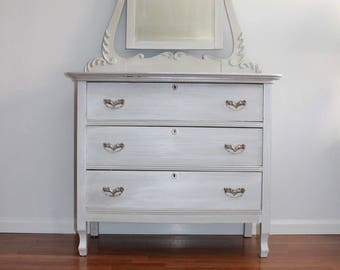 SOLD *****Vintage Grey Opalescent dresser/chest of drawers/small baby changing table