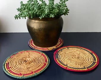 vintage raffia trivets colorful boho coil wrapped set of 3
