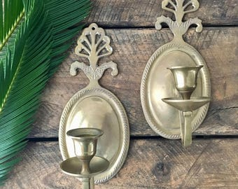 vintage solid brass candle wall sconces fish detail taper holder boho candleholder pair of 2