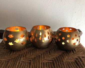 vintage brass Christmas votive holders Christmas tree dove star cutouts tea lights set of 3