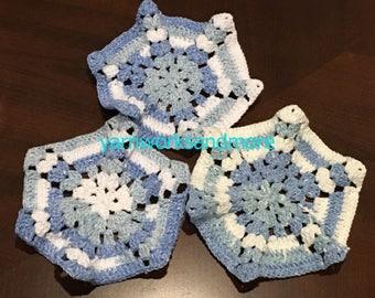 Handmade Dishcloths, 3 Crocheted Dishcloths, Blue And White Dishcloths, Cotton Dishcloths, Mother's Day Gift, Gifts Under 10