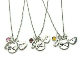 Personalized Mom And 2 Daughter Pinky Promise Necklaces, Mom 2 Daughter Necklaces,Mom Necklace,2 Daughters Necklaces,Mother Daughter