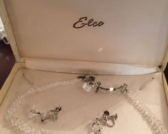 Elco genuine rock crystal necklace and earrings sterling silver ear wires