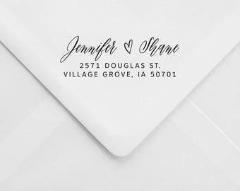 Calligraphic Address Stamp – Romantic Invitation Stamp – RSVP Envelope Stamp – Wood Handle Address Stamp