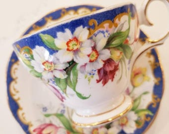 Vintage Tea Cup and Saucer /Bell China Blue Vintage Tea Cup /Narcissus Collectable teacup/Blue trim with flowers