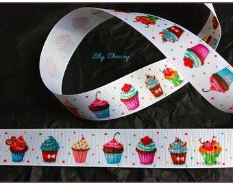 1 meter of Ribbon 25mm kawaii cupcakes pattern