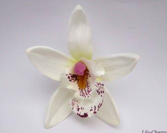 Artificial flower Orchid fine petal gradient white 7.5 cm x 1 hair clip