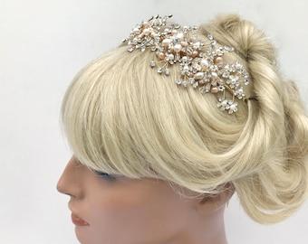 Crystal and Freshwater Pearl Bridal Hair Vine Headpiece, Swarovski Crystal, Wedding Tiara, Ivory & Champagne Pearl, Crystal Headband,