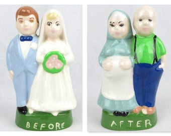 Vintage Turnabout Bride / Groom, Before / After, Handpainted Ceramic