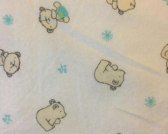 XMAS IN JULY Baby Bears Bamboo and Cotton Blend Flannel Fabric by the Yard or Half Yard
