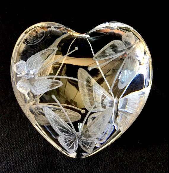 Baccarat Paperweight, Baccarat Crystal butterflies, Customized Custom Paperweight, Vintage Paperweight, Custom Butterfly Engraved, Etched