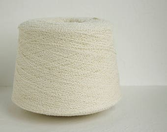 Boucle linen yarn on cone - 1.7kg / 60oz Ivory color FREE SHIPPING