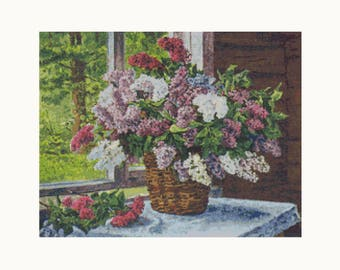 Cross Stitch Kit - Lilacs - the Window - Pyotr Konchalovsky - Floral Embroidery Kit - Needlework DIY Kit (PYOTR01)