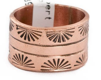 90 Retail Tag Pure Copper Handmade Authentic Made by Robert Little Navajo Native American Ring  16996-2
