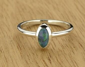 0.44ct Semi-Black Opal Ring in 925 Sterling Silver Size 6.5 SKU: 1979B001-925