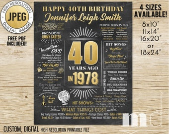 40th Birthday Gift Chalkboard Poster, 40 Years Old, Born in 1978, Custom 40th Birthday Gift Ideas, Adult Chalkboard Stats DIGITAL, PRINTABLE
