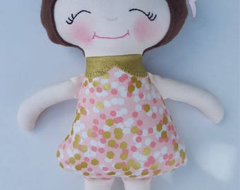 Soft Doll, Modern rag doll, pink and gold outfit with gold boots, 11 inches, Ready to ship, baby's first doll
