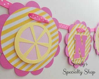 Pink Lemonade Highchair Birthday Banner - ONE - Yellow Stripe, Candy Pink, Light Pink, Light Yellow