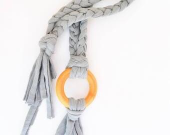 Grey Tug & Pull Teething Tassel Necklace   Gray Teething Necklace   Shades of Grey Tassel Necklace