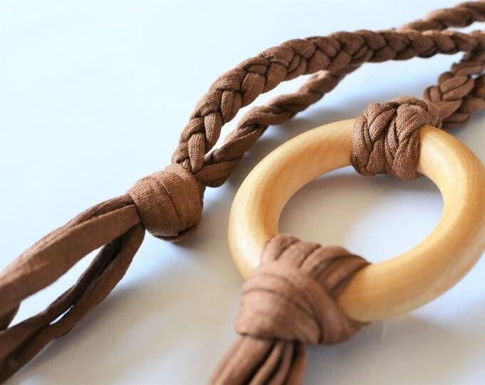 Brown Tug & Pull Teething Tassel Necklace | Brown Teething Necklace | Macrame Tassel Necklace