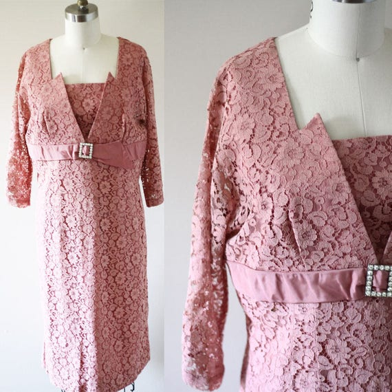 1960s pink lace dress// 1960s dusty rose dress // vintage dress