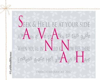Baptism Decorations Girl Baby Girl Christening Goddaughter Gifts Religious Baby Gift Christian Nursery Decor Name Poem 8x10 Savannah