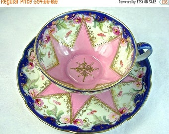 ON SALE PINK Star Nippon Cup & Saucer, Raised Gold Beaded, Cobalt Blue
