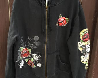 Vintage 90s Mickey Mouse Disney tattoo hoodie Disneyland Disney World size large