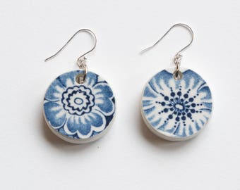 Porcelain flower earrings, english china ceramic and sterling silver wire