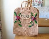 Vintage large boho woven embroidered tote bag / raffia flowers /  market bag / Mexico