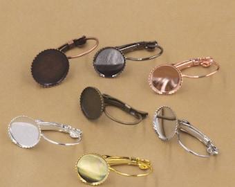 Bulk 50 pcs Bezel Lever Back Earring Wires - Settings