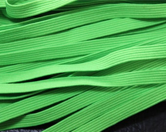 elastic Ribbon 5 meters flat neon green color