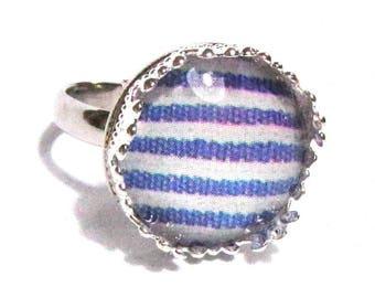Ring cabochon Navy stripes pattern