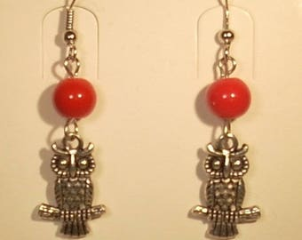 Red glass beads and OWL charm hook earrings